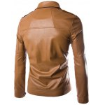 cheap Turn-Down Collar Pockets Design Zip-Up PU-Leather Jacket