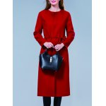 Buy Belted Wool Blend Coat S RED