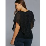Plus Size Polka Dot Overlay Blouse deal