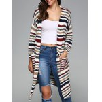 Colorful Striped Double Pockets Cardigan