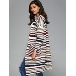 cheap Colorful Striped Double Pockets Cardigan