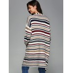 Colorful Striped Double Pockets Cardigan deal
