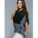 cheap Plus Size Lace-Up Batwing Sleeve Blouse