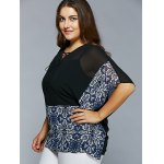 Plus Size Lace-Up Batwing Sleeve Blouse deal