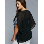 Plus Size Lace-Up Batwing Sleeve Blouse for sale