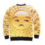 cheap Round Neck 3D Emoji Face Print Long Sleeve Sweatshirt