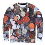Round Neck 3D Coins Print Long Sleeve Sweatshirt