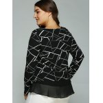 Plus Size Geometric Print Splicing Blouse deal