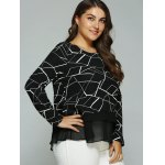 cheap Plus Size Geometric Print Splicing Blouse