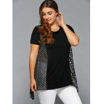 cheap Plus Size Polka Dot and Floral Blouse