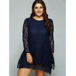 cheap Plus Size Layered Asymmetrical Lace Dress