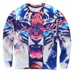 Round Neck 3D Tiger Cross Print Long Sleeve Sweatshirt