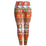 Slim Santa Claus Print Christmas Leggings deal