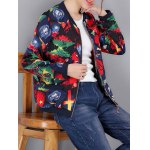cheap Colorful Pattern Bomber Jacket