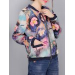 cheap Colorful Floral Print Bomber Jacket