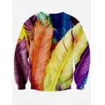 cheap Colorful Feather 3D Print Long Sleeve Crew Neck Sweatshirt