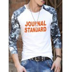 cheap Floral Printed Sleeve Letter Pattern T-Shirt