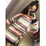 cheap Rainbow Stripe Sweater Dress