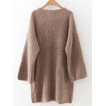cheap Relaxed Fit Long Sleeve Knitted Tunic Dress