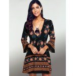 Plunging Neck 3/4 Sleeve Printed Dress photo