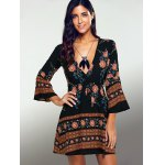 Plunging Neck 3/4 Sleeve Printed Dress for sale