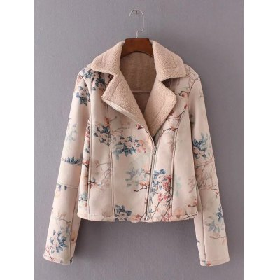 Furred Floral Print Jacket