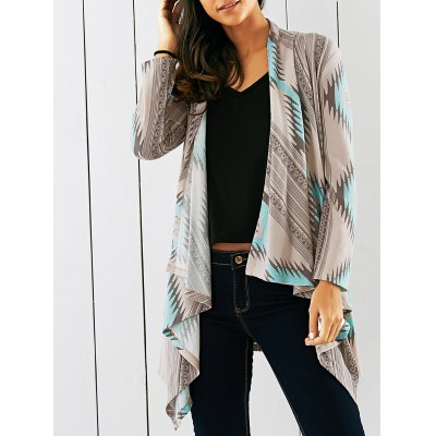 Tribal Print Asymmetrical Cardigan