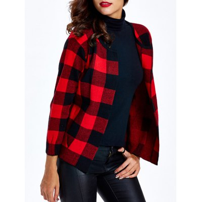 Collarless Plaid Slimming Cardigan