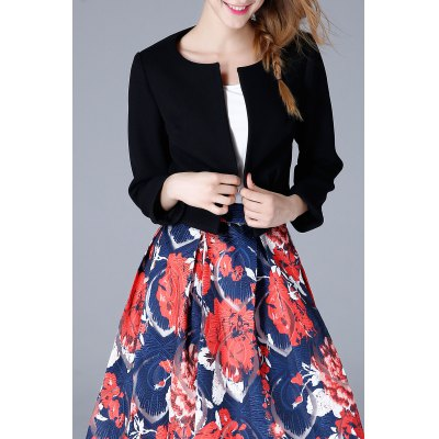 Collarless Open Front Cropped Jacket