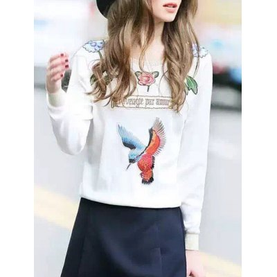 Embroidered Patched Sweatshirt