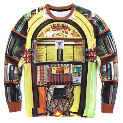 Crew Neck 3D Jukebox Print Long Sleeve Sweatshirt