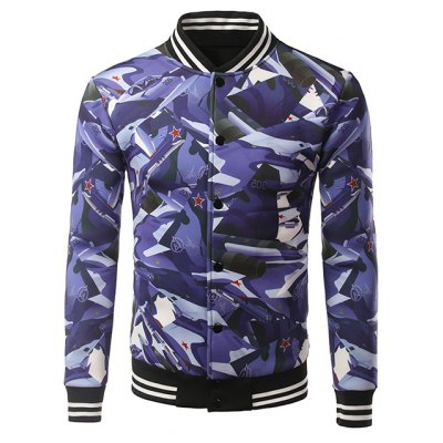 3D Camouflage Warplanes Print Stripe Splicing Stand Collar Jacket