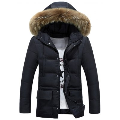 Multi-Pocket Quilted Coat with Fur Hood