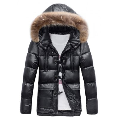 Quilted Duffle Coat with Fur Hood