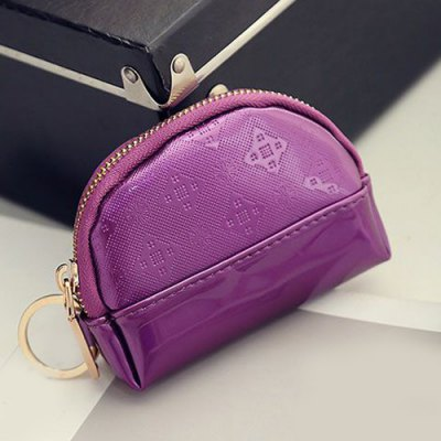 PU Leather Embossing Metal Ring Coin Purse