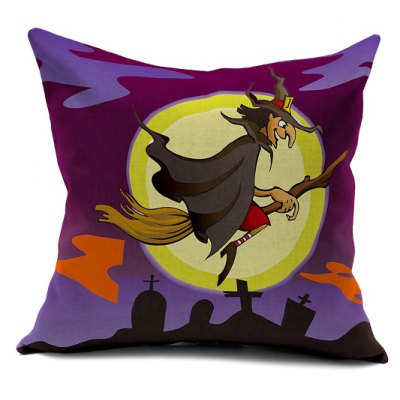 Halloween Witch Printed Sofa Cushion Pillow Case