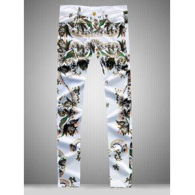 All Over Flower Printed Jeans