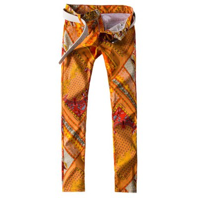 Slim Fit All Over Abstract Printed Jeans