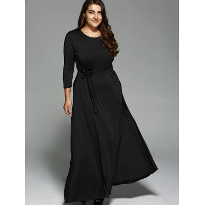 Long Sleeves Maxi DressPlus Size Dresses<br>Long Sleeves Maxi Dress<br><br>Style: Brief<br>Material: Cotton Blend<br>Silhouette: A-Line<br>Dresses Length: Floor-Length<br>Neckline: Jewel Neck<br>Sleeve Length: Long Sleeves<br>Waist: Empire<br>Pattern Type: Solid<br>With Belt: Yes<br>Season: Fall,Spring<br>Weight: 0.549kg<br>Package Contents: 1 x Dress 1 x Belt