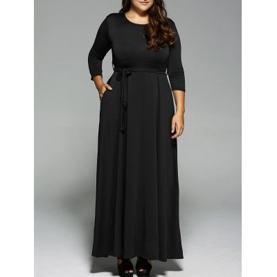 Plus Size Long Sleeve Maxi Formal Evening Swing Dress