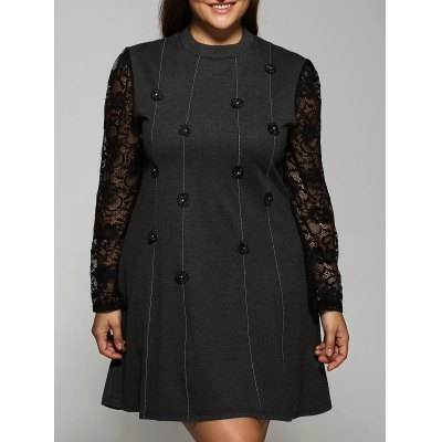 Long Sleeve Buttons Lace Spliced Dress