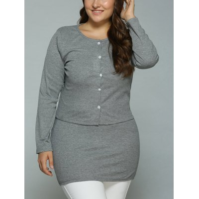 Buttons Cardigan and Bodycon Dress