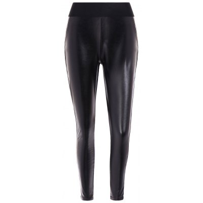 Elastic Waist PU Leather Fleece Leggings