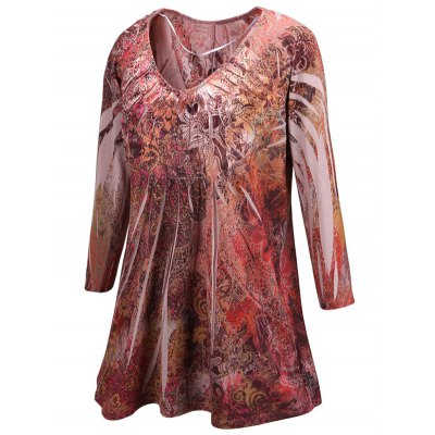 Plus Size Ornate Printed BlousePlus Size Tops<br>Plus Size Ornate Printed Blouse<br><br>Material: Polyester<br>Clothing Length: Long<br>Sleeve Length: Three Quarter<br>Collar: Scoop Neck<br>Style: Casual<br>Season: Fall,Spring<br>Pattern Type: Print<br>Weight: 0.241kg<br>Package Contents: 1 x Blouse