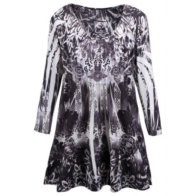 Scoop Neck Plus Size Printed Blouse