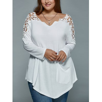 Plus Size Lace Spliced Asymmetric T-ShirtPlus Size Tops<br>Plus Size Lace Spliced Asymmetric T-Shirt<br><br>Material: Lace,Polyester<br>Clothing Length: Regular<br>Sleeve Length: Full<br>Collar: V-Neck<br>Style: Fashion<br>Season: Fall,Spring<br>Pattern Type: Patchwork<br>Weight: 0.220kg<br>Package Contents: 1 x T-Shirt