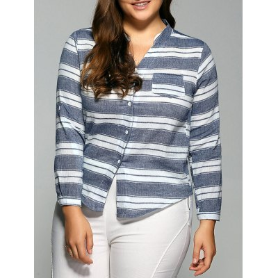 Striped Pocketed Casual Shirt