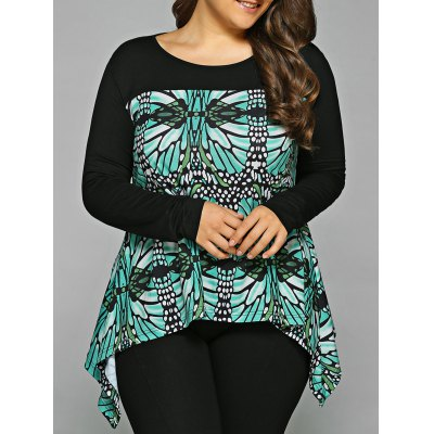 Abstract Pattern Asymmetrical Blouse
