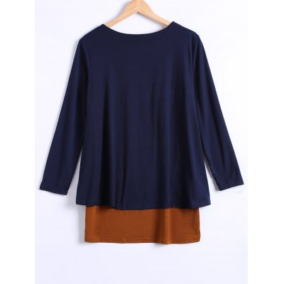 Long Sleeves Asymmetric Faux Twinset T-ShirtPlus Size Tops<br>Long Sleeves Asymmetric Faux Twinset T-Shirt<br><br>Material: Polyester<br>Clothing Length: Long<br>Sleeve Length: Full<br>Collar: Scoop Neck<br>Style: Fashion<br>Season: Fall,Spring<br>Pattern Type: Patchwork<br>Weight: 0.352kg<br>Package Contents: 1 x T-Shirt