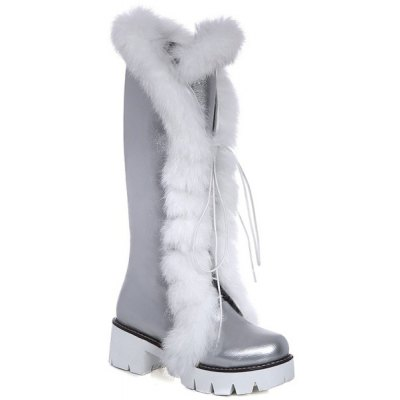 Faux Fur Tie Up Boots